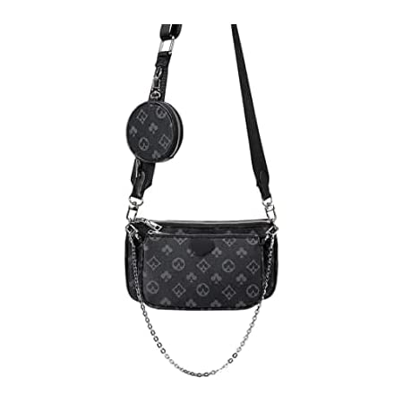 Mahjong Bag Umhängetasche Schultertasche 3 in 1 Luxus-Handtasche PU Leder Tragetaschen Fashion für Frauen Schwarz