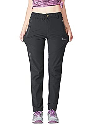 YSENTO Women's Outdoor Quick Dry Hiking Trousers Lightweight Water Resistant Walking Climbing Pants With Zipper Pockets