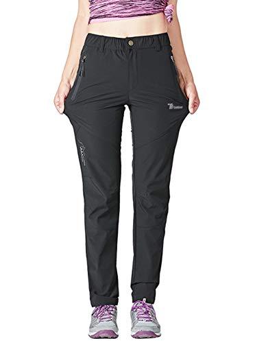 YSENTO Damen Outdoor Schnell trocknende Wanderhose Leicht Wasserabweisend Walking Klettern Hose mit Reißverschlusstaschen XXL Schwarz