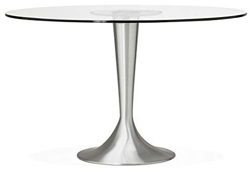 24Designs Ronde Eettafel Ravi - Ø120x76 - Glazen Tafelblad - Aluminium Onderstel