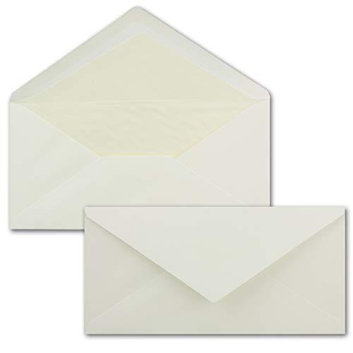 75 x DIN Lang Briefumschläge -bunt mit cremefarbenen Seidenfutter - Creme - 11 x 22 cm - 80 g/m² ideal für Einladungen, Weihnachtskarten, Glückwunschkarten aus der Serie Farbenfroh