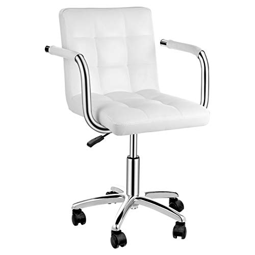 Bürostuhl mit Rädern und Armen PU Leder 360 ° Drehstuhl Schreibtischstuhl mit Rückenlehne Ergonomisch Höhenverstellbar Computerstuhl für erwachsene Teenager Studenten Haushaltsbüro Friseur (Weiß)