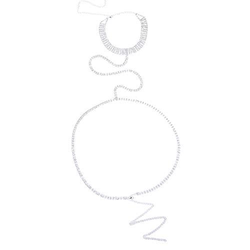 Holibanna Kristall kroppskedja mage kedja halsband kroppskedja halsband strandfest smycken för kvinnor damer flickor silver