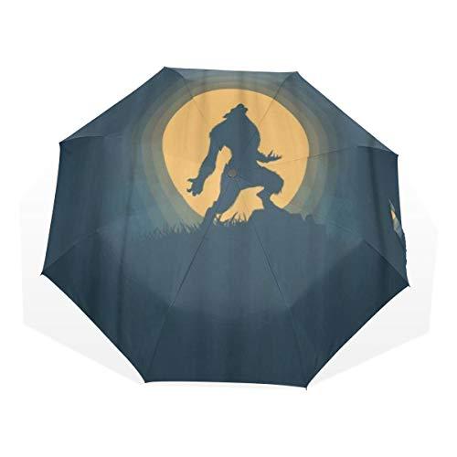 LASINSU Regenschirm,Karikatur Werwolf Schattenbild Halloween Nachtmondschein Geist Grausigkeits Szenen Tier,Faltbar Kompakt Sonnenschirm UV Schutz Winddicht Regenschirm