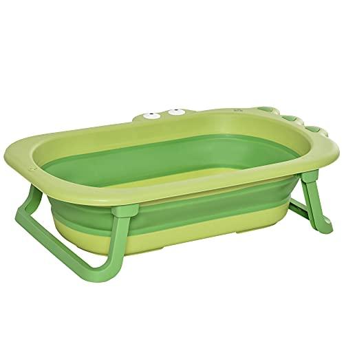 HOMCOM faltbare Babywanne Babybadewanne mit rutschfesten Fußpolster Stützstangen faltbare Babywanne Badewanne mit Krokodil Form für Kinder 0-3 Jahre alt PP-Kunststoff TPE Grün 80 x 53,9 x 20,8 cm