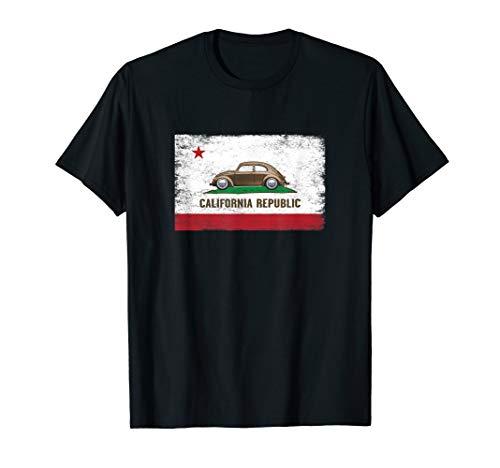 Distressed Flag California Republic Humor Bug Buggy Beetle T-Shirt