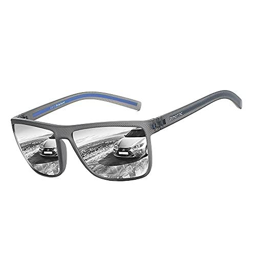 ZENOTTIC Gafas De Sol Polarizadas para Hombre Cuadradas Súper Liviana Marco TR90 Protección UV400