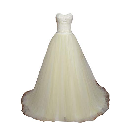 Kivary Sweetheart Lace and Tulle White Formal Corset Beaded Prom Quinceanera Dresses Light Yellow US2 (Apparel)