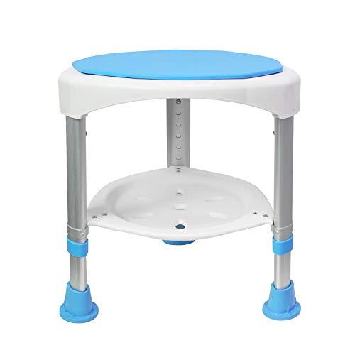 LZQ Duschhocker Badhocker Duschstuhl 45-57cm Höhenverstellbar und 360° Drehbar Badsitz Blau Duschhilfe Anti-Rutsch Badsitz für Alter, Schwangere
