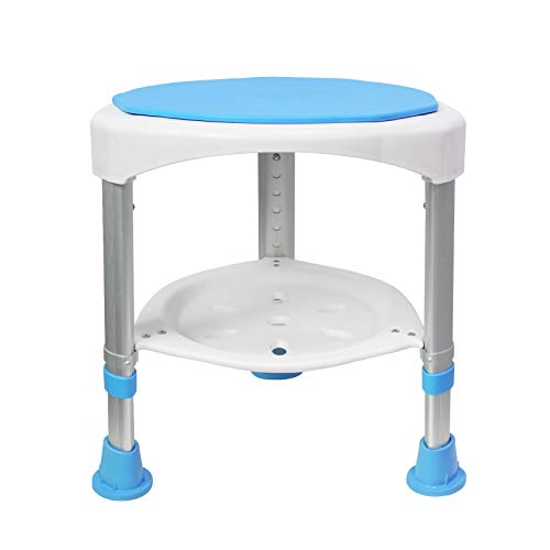 LZQ Douchekruk, badkruk, douchestoel, 45-57 cm, in hoogte verstelbaar en 360 graden draaibaar, badstoel, blauw, douche…