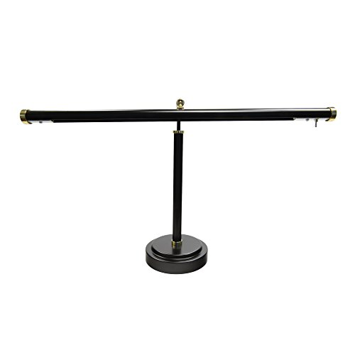 Cocoweb Black with Brass Accents 19' Shade, 12-16' Adjustable Height Upright Piano Lamp - PLED100AD