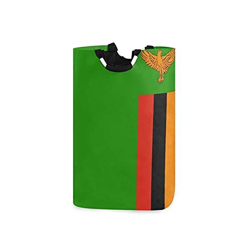 Wäschesammler mit Sambia-Flagge, groß, wasserdicht, faltbar, Segeltuch, Eimer mit Handgriffen für Aufbewahrungskorb, Kinderzimmer, Zuhause, Kinderzimmer, Babykorb