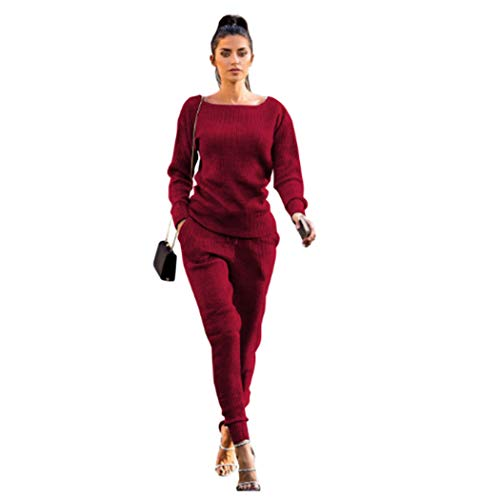 Nuofengkudu Womens Fall & Winter Rib-Knit Pullover Sweater Top & Long Pants Set 2 Piece Outfits Tracksuit Burgundy XXL
