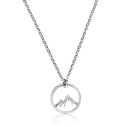 Nuoli® Kette Berge Silber (45+5 cm) hübsche Halskette mit Berg Anhänger