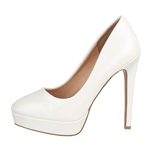 Elara Plateau Pumps Damen High Heels Stiletto Spitz Schuhe Chunkyrayan C-1 Weiss-38