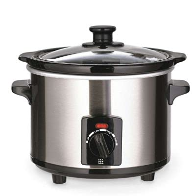 Lakeland Electric Slow Cooker Brushed Chrome, 1.5L - Ideal for 1-2 Servings