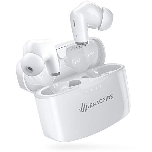 ENACFIRE【第3世代 完全ワイヤレスイヤホン 音量調節 片耳8時間継続使用】ワイヤレスイヤホン 高音質 Bluetooth5.0 自動ペアリング 両耳通話 CVC8.0 ノイズキャンセリング タッチボタン マイク内蔵 IPX8防水規格 スポーツイヤホン iPhone/iPad/Android適用 PSE認証/技適認証/SDS認証済み (E90) (ホワイト)