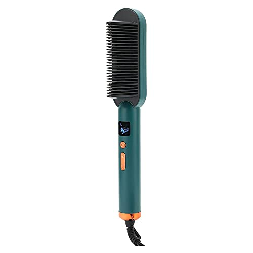 XTZJ Pincel de plancha para el cabello, pincel de enderezamiento iónico con bloqueo anti escaldado, calefacción de cerámica rápida y cerradura de temperatura, 2 en 1 Portable enderezando el salón prof
