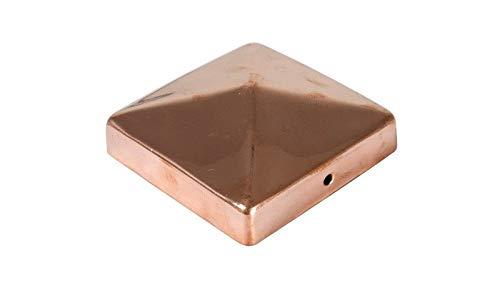 meingartenversand.de Zaunpfosten Kappe/Pfostenabdeckung 9 x 9 cm eckig in Pyramiden Form aus poliertem Kupfer