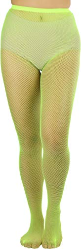 ToBeInStyle Women's Sexy Vibrant Fine Classic Fishnet Full Footed Pantyhose - Neon Yellow - One Size Regular