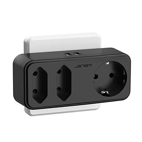 Enchufe USB Pared, JSVER 5 en 1 Ladron Enchufe Multiple Cargador USB con Doble USB (2,4A) y 3 Tomas de CA(16A), Enchufe Pared Compatible con Phone, Pad para el Hogar, Oficina,Viaje-Negro