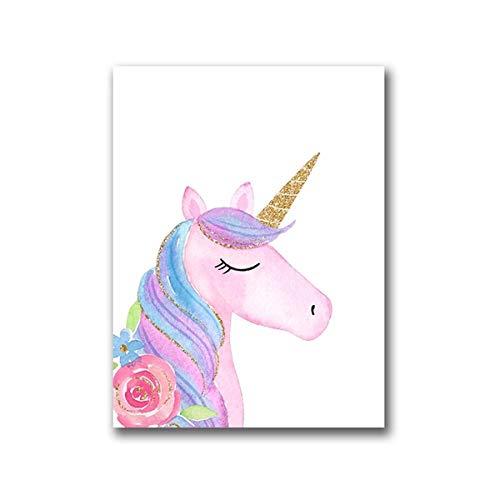 XIANRENGE Impresiones sobre Lienzo,Póster De Impresión HD Impresa sobre Lienzo,Cómic Lindo Unicornio Animales Nórdicos Pintura En Tela, Arte Moderno Gran Pared Inkjet Imagen Pop De Salón Decoracion