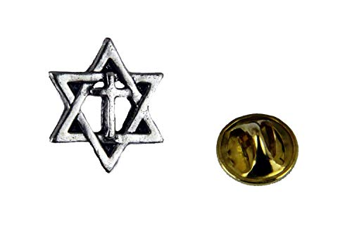 The Quiet Witness 6030232 Star of David Cross Lapel Pin Jews for Jesus Christian Jewish Pin Hanukkah Jew Synagogue Temple Israel Gift