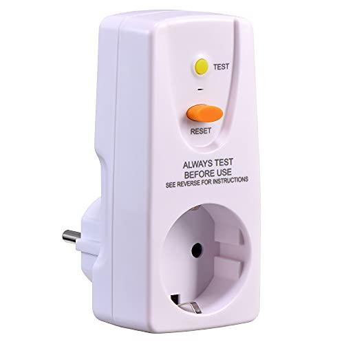 GutReise Enchufe intermedio de protección para personas con protección contra descargas eléctricas, 16 A, 220-250 V, 10 mA, adaptador de seguridad