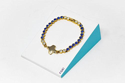Goud vergulde blauwe Swarovski Cross armband & lourdes gebedskaart