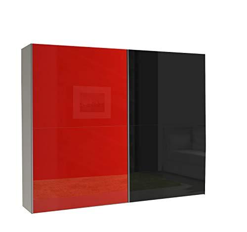 mb-moebel Kleiderschrank Schrank Garderobe Zweitürenschrank Schwebetürenschrank Schwebetüren 2-Türig Schlafzimmerschrank 244cm Maxi (Maxi 14 (Rot Hochglanz + Schwarz Hochglanz))