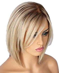Perruque blonde HotQueen - Cheveux courts - Carré brésilien - 25,4 cm à 35,6 cm