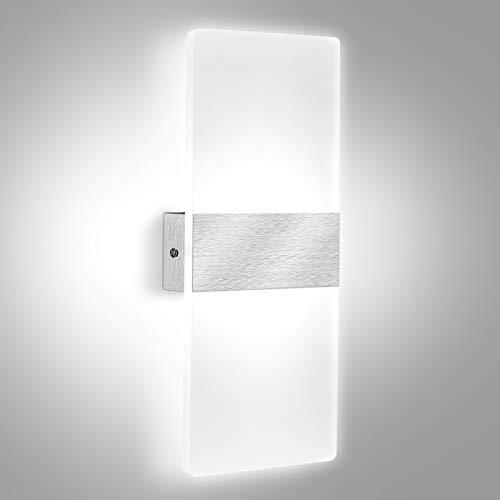 LED Wandleuchte Innen Modern Wandlampe Wandbeleuchtung für Wohnzimmer, Schlafzimmer, Badezimmer, Flur, Balkon, treppenhaus, 12W (1Stück / kaltweiß)