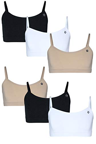 Limited Too Girls Seamless Training Sports Bra with Adjustable Straps 6-Pack (Almond/White/Black, Small / 7-8)'