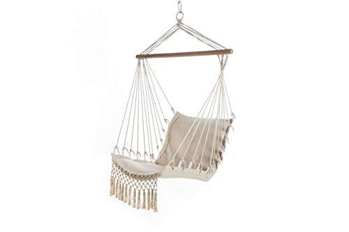 909 OUTDOOR Hangstoel crème geweven, hangmat voor binnen en buiten, hangstoel van hout en katoen met touwen, 115 x 60 x 90 cm