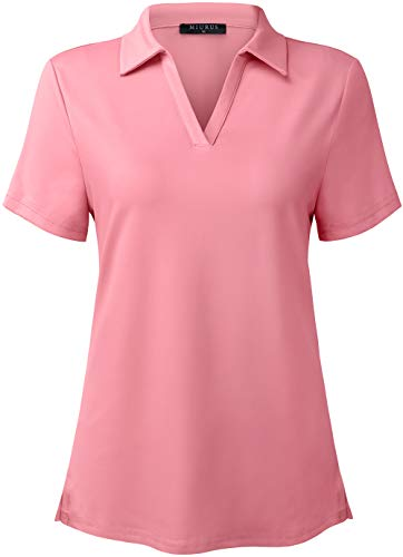 KORALHY Womens Outdoor Sports Polo Shirt,UPF50+ UV Sun Protection Shirts for Women V-Neck Shirts Golf&Tennis for Woman Ultra Lightweight Swimming Climbing Hiking Sports Shirt for Women Pink Medium