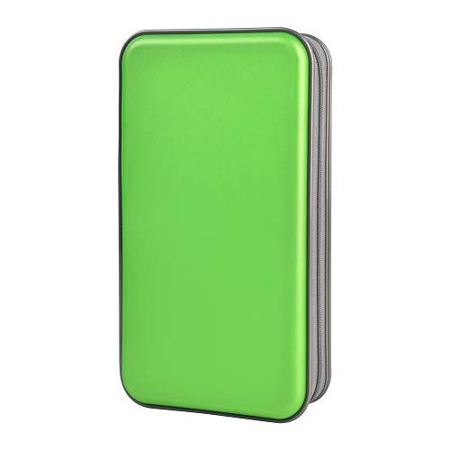Estuche de CD, Alachi EU 96 Capacidad de plástico Duro Cremallera de Viaje Estuche de Billetera de Almacenamiento de CD (96 Capacidad, Verde)