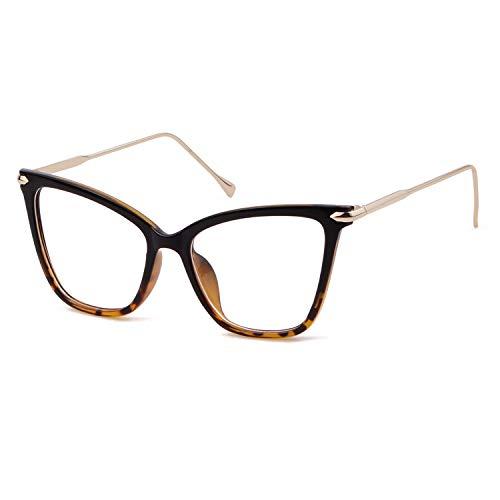 GIFIORE Katzenaugen Brille Ohne Stärke, Mode Retro Dekobrille,Brillenfassung Klare Linse Cat Eye Brille für Damen Herren