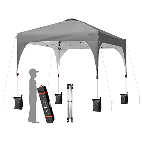 Tangkula 10 x 10 FT Outdoor Pop-up Canopy Tent, Height Adjustable Commercial Instant Canopy w/ Portable Roller Bag, 4 Weight Bags, Outdoor Camping Sun Shelter for Camping, Party (Grey)