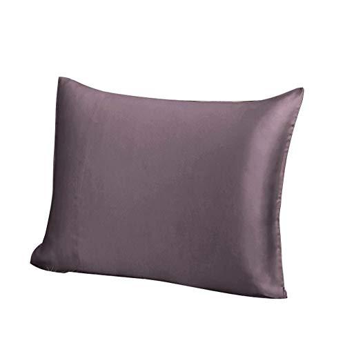 THXSILK Luxus 100% 19 Momme Seide Kissenbezug Kissenhülle mit Reißverschluss - Seide Kissen Bezug - Super Weich und Glatt Seidenkissenbezug (80x80cm, Lila)