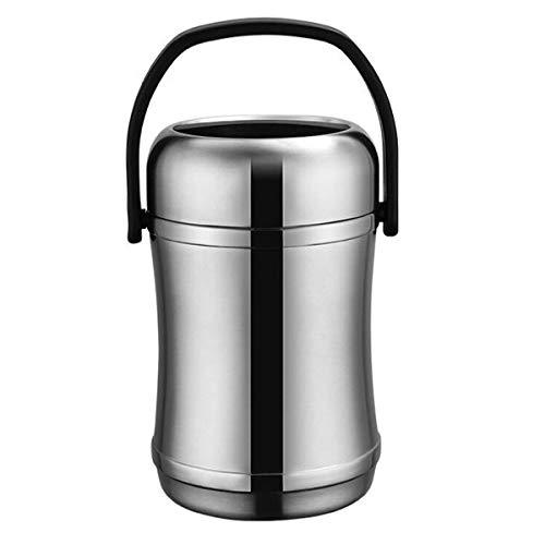 Vacuüm Isolatie Lunch Box, soep Kolf Stainless Steel Anti-overflow Sealed Vacuüm Isolatie Doos van het Voedsel for volwassenen 3 Lagen (Color : Silver, Size : 2L)