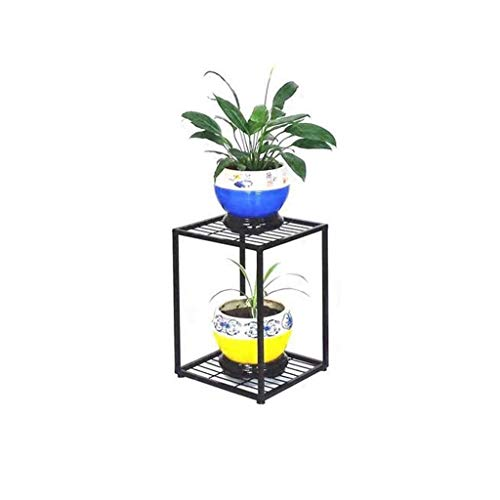 YBB-YB YankimX - Soporte moderno de 2 niveles para plantas, para interiores y exteriores, sala de estar, balcón, decoración de jardín, patio, soporte de pie (color negro)