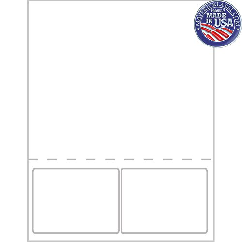 """Mailing Labels FC-0015 – Integrated Label Sheets – 2 up Labels 4""""x2 7/8"""" Full Perforated Sheet - can be Used as Personalized Labels, Custom Labels, Packing Slip, Shipping Labels, Label Sheets"""