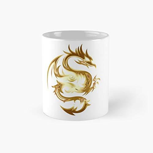 Taza clásica de dragón blanco dorado | El mejor regalo divertidas tazas de café de 325 ml