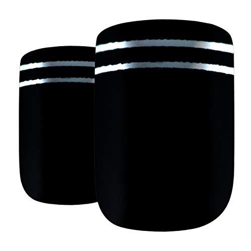 Faux Ongles Bling Art Noir Argent Glossy 24 Squoval Moyen Faux bouts d'ongles acrylique avec de la colle
