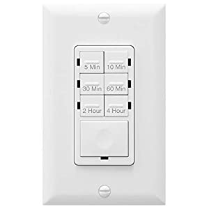 ENERLITES Countdown Timer Switch, Fan Switch Timer, Wall Light Timer Switch, Bathroom Timer Switch, 5 min – 4 hours, Night Light LED Indicator, Neutral Wire Required, UL Listed, HET06-4H-W, White