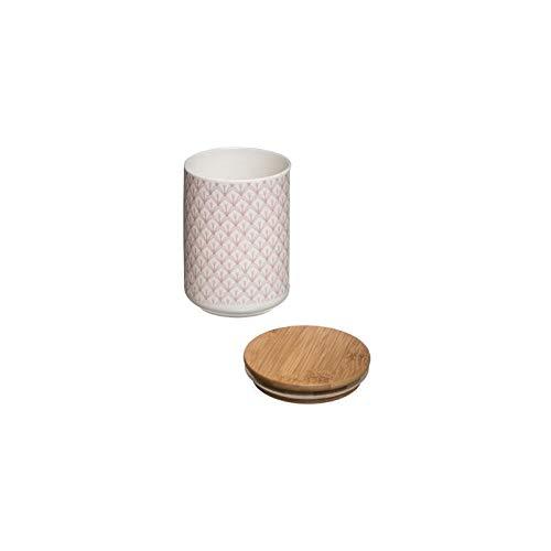 AC-Déco Bocal scandinave avec Couvercle - D 10 x H 14 cm - Céramique - Rose