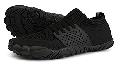 JOOMRA Womens Trail Running Minimalist Barefoot Shoes All Black Athletic Wide Toes Box Gym Trekking Toes Ladies Hiking Barefoot Sneakers Size 7