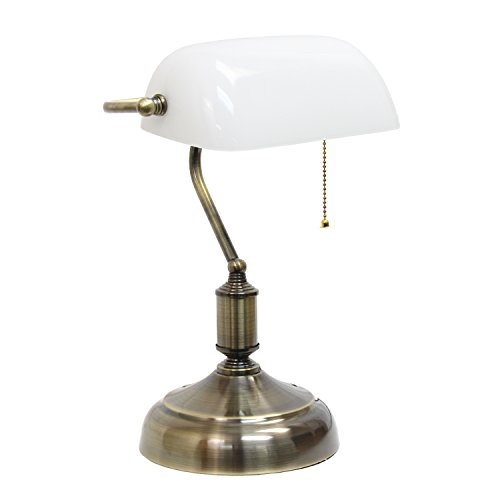 Simple Designs LT3216-WHT Executive Banker's Glass Shade, Desk Lamp, Antique Nickel/White