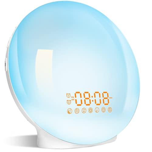 Despertador Luz, Wake Up Light LED Simulación Amanecer/Atardece, Ayuda Dormir, 2 Alarmas,7 Sonidos Naturales,20 Niveles Brillo, Radio FM, Función Snooze, 7 Colores Luces Despertador para Adulto Niños