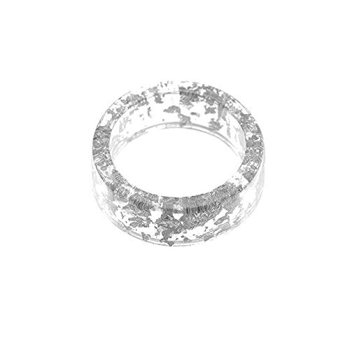 Sttiafay Anillo de resina transparente Anillo de lámina de oro creativo Anillo grueso acrílico joyería para mujeres y niñas (plata)